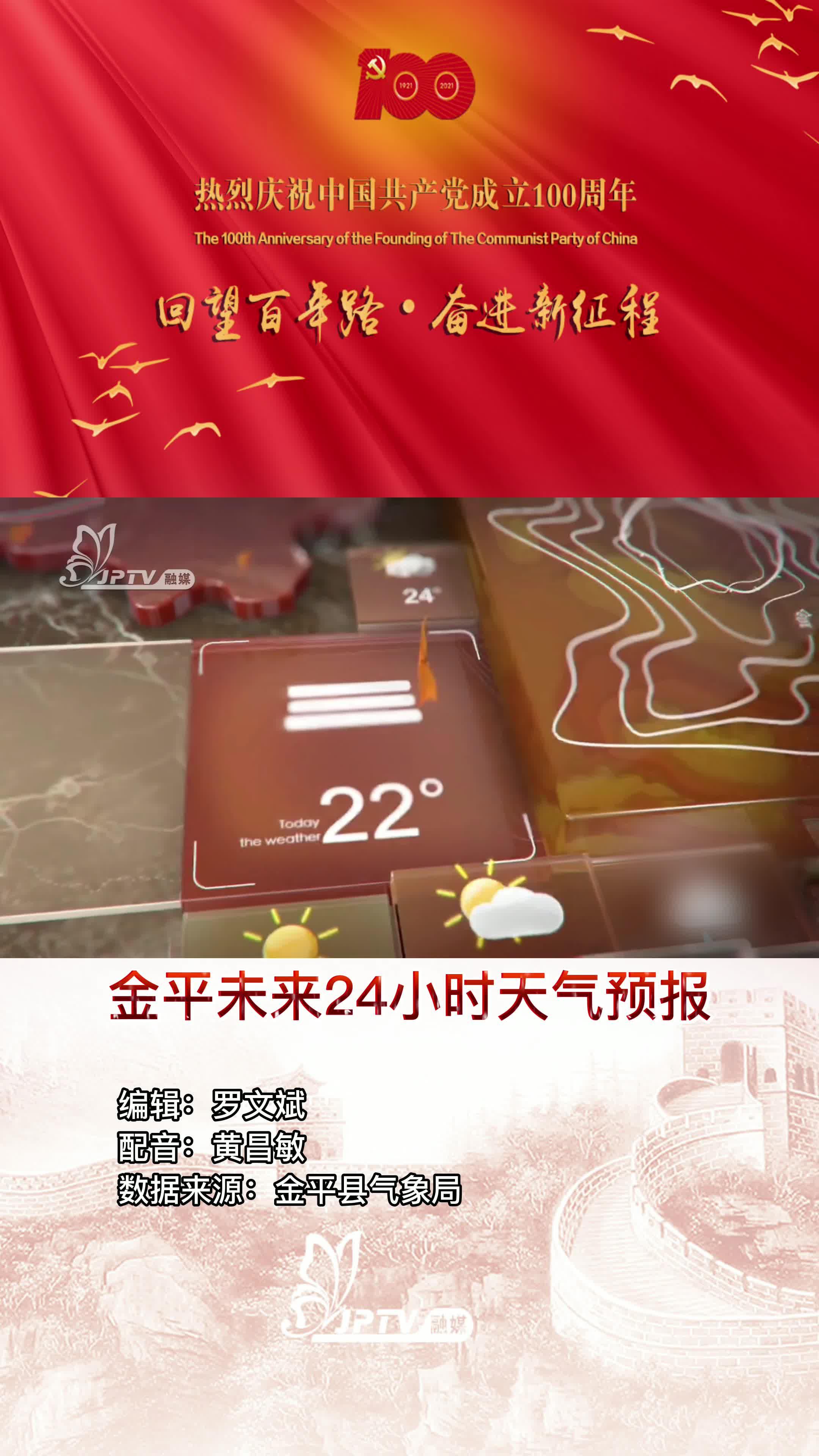 【金平天气】未来24小时我县多云有阵雨